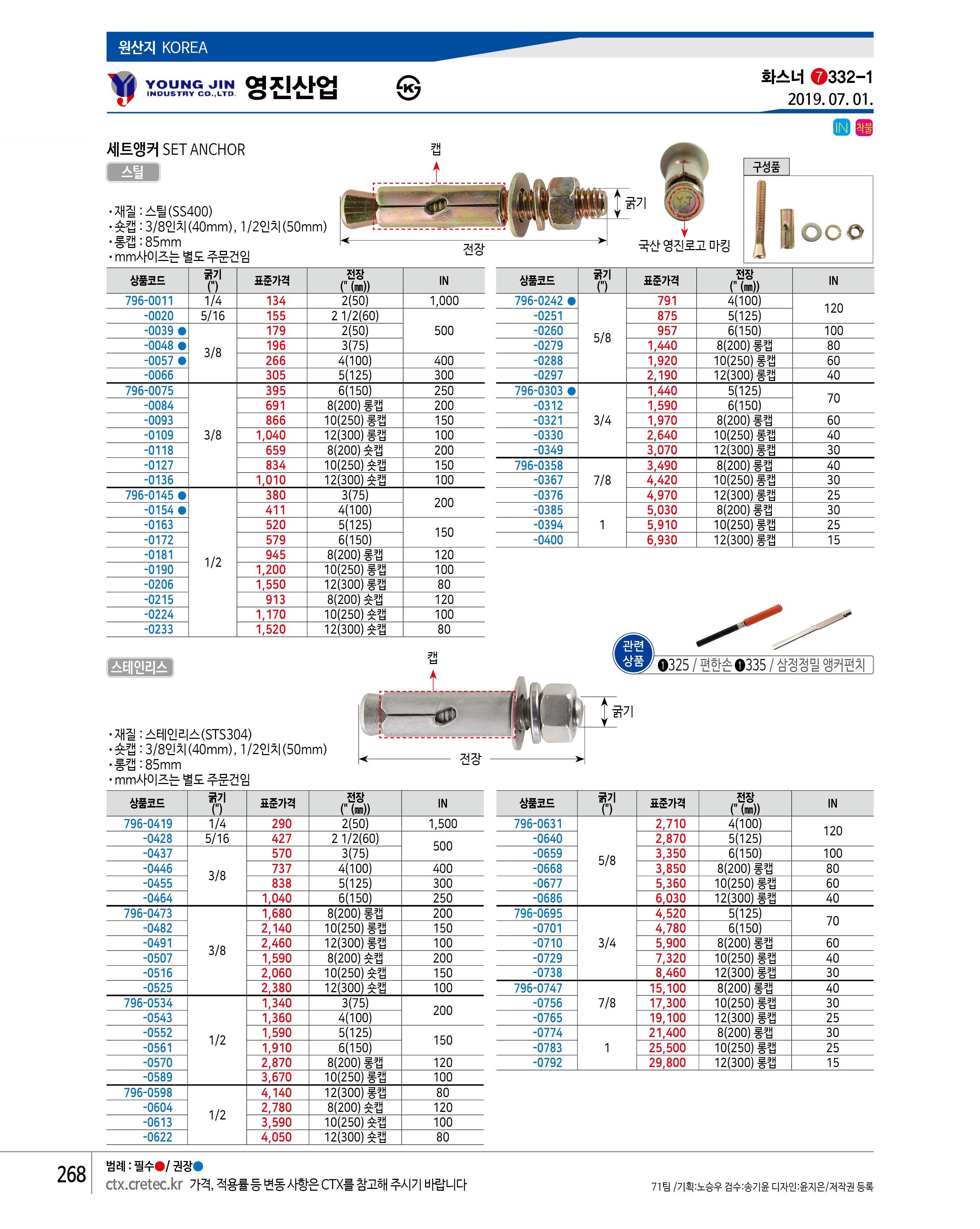 """영진산업 세트앵커(스틸) 1/2×8""""(200) 숏캡 120EA 120EA"""