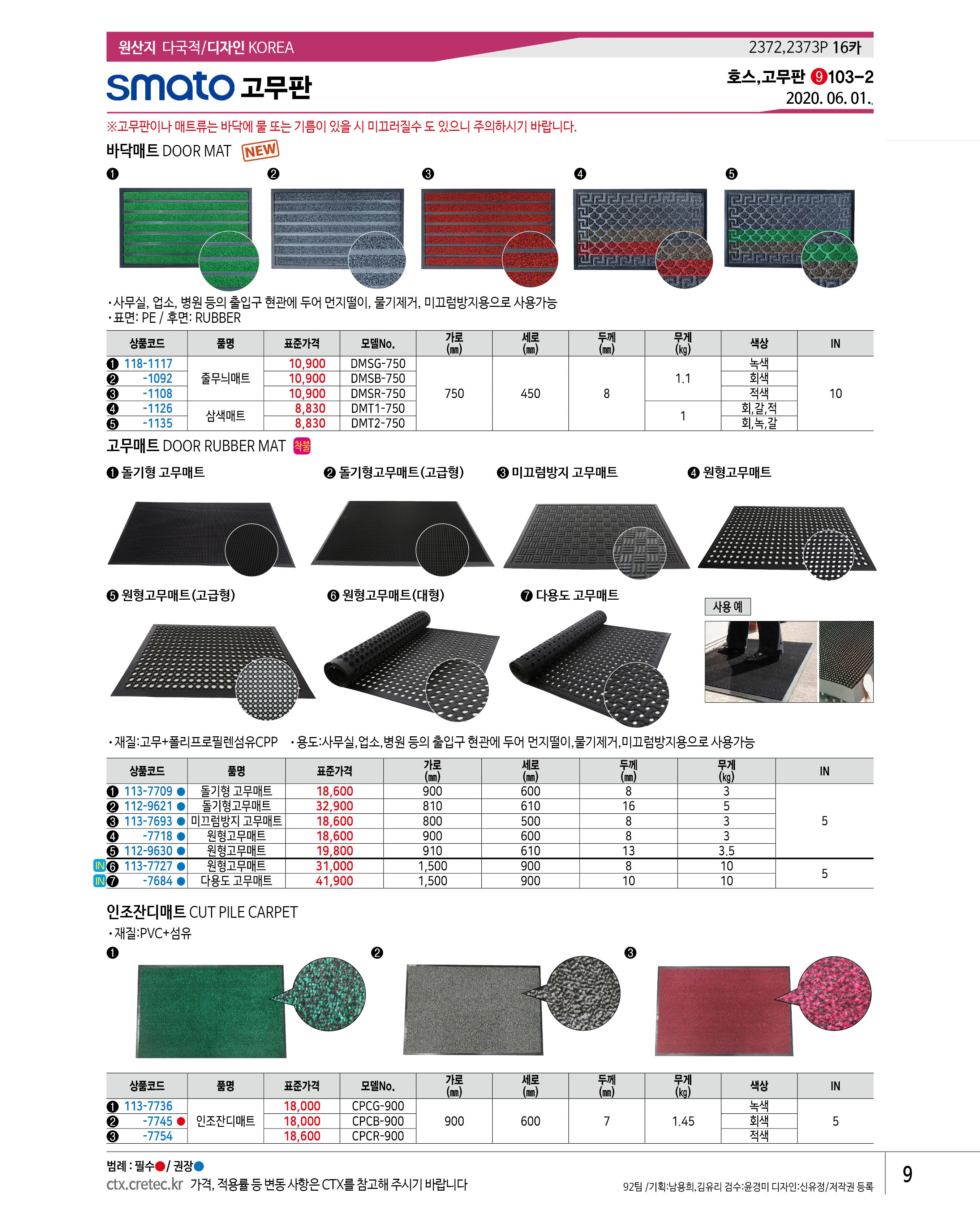 SMATO 고무판 고무매트 미끄럼방지 고무매트(800x500x8)