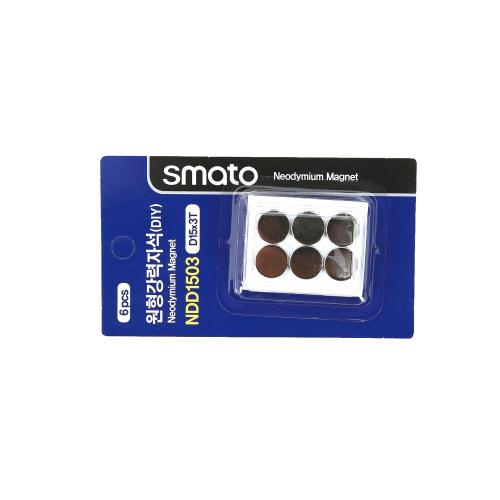 원형강력자석(DIY) 스마토 NDD1503(D15x3.0T/1판6EA)