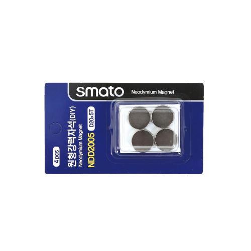 원형강력자석(DIY) 스마토 NDD2005(D20x5.0T/1판4EA)