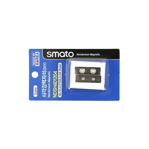 사각강력자석(DIY) 스마토 NDSH401204(40x12x4.0T(D6.5xD4-2hole)1판2EA)